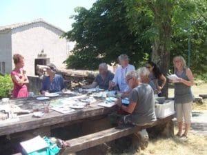 samen schilderen in Zuid-Frankrijk onder de christus dorn
